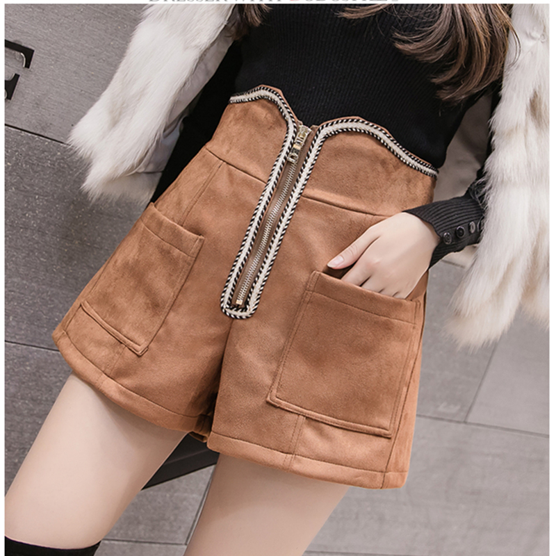 New Autumn Winter Women High Waist Suede Skirts Fashion Zipper Design Vintage Wide Legs Mini   Short   Female Casual Pocket   Shorts