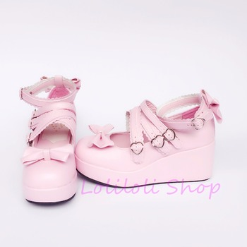 Princess sweet punk shoes loliloli yoyo Japanese design custom big size pink bright skin buckle strap high-heeled shoes a714 фото