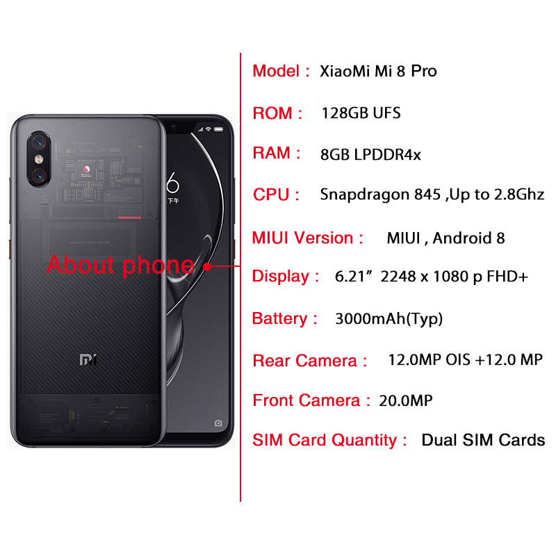 Global Version Xiaomi MI 8 Pro 8GB 128GB Snapdragon 845 6 21