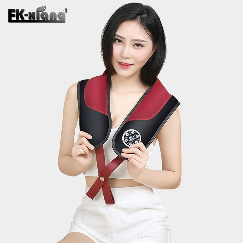 FK-Xiang Electric Knocking Body Massager Shawl Shoulder Neck Back Waist Massage Belt Massage Relax Device pop relax electric vibrator jade massager light heating therapy natural jade stone body relax handheld massage device massager