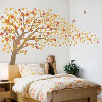 Cherry Blossom Tree Wall Decal For Nursery Princess Girl Bedroom Wall Tattoo Large Tree With Flowers Wall Stickers A396