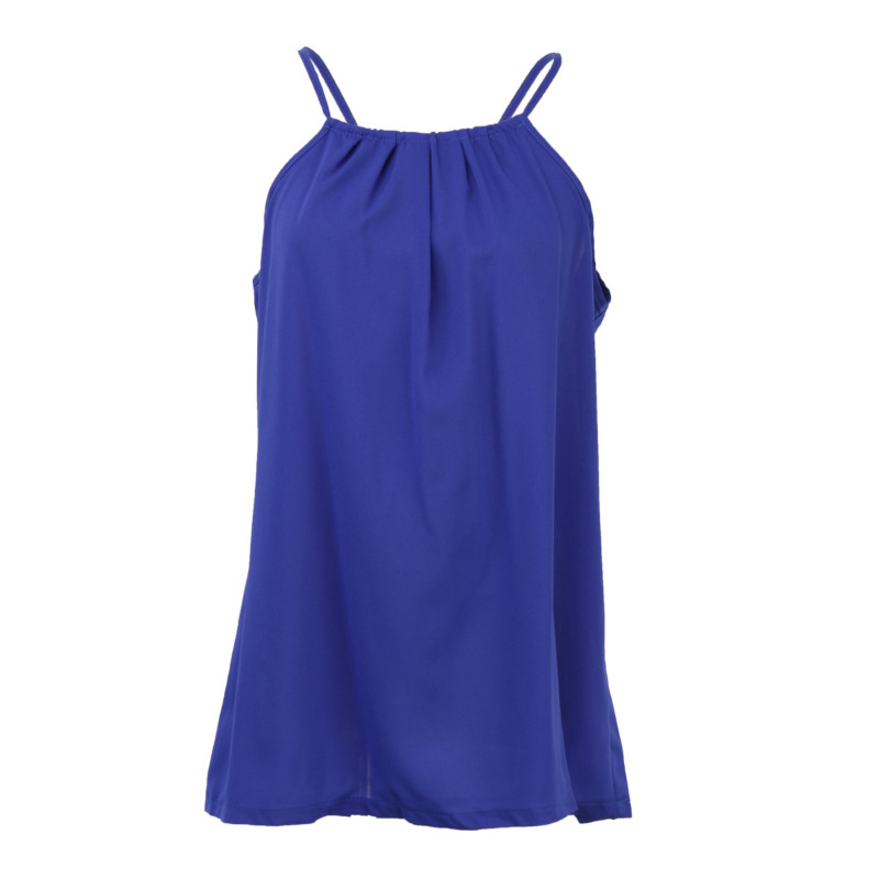 Summer Womens Lady Tops Casual Chiffon Vest Tops Tank Solid Blue Camis Blouse Sleeveless Women Lady Clothing Summer