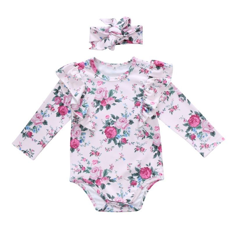 Cute Newborn Baby Girl Floral Clothes Ruffles Long Sleeve Cotton Romper Jumpsuit +Headband 2PCS Outfits Kids Clothing Playsuit newborn infant baby clothes girl lace strap floral romper jumpsuit headband 2pcs summer baby girl romper clothes baby onesie