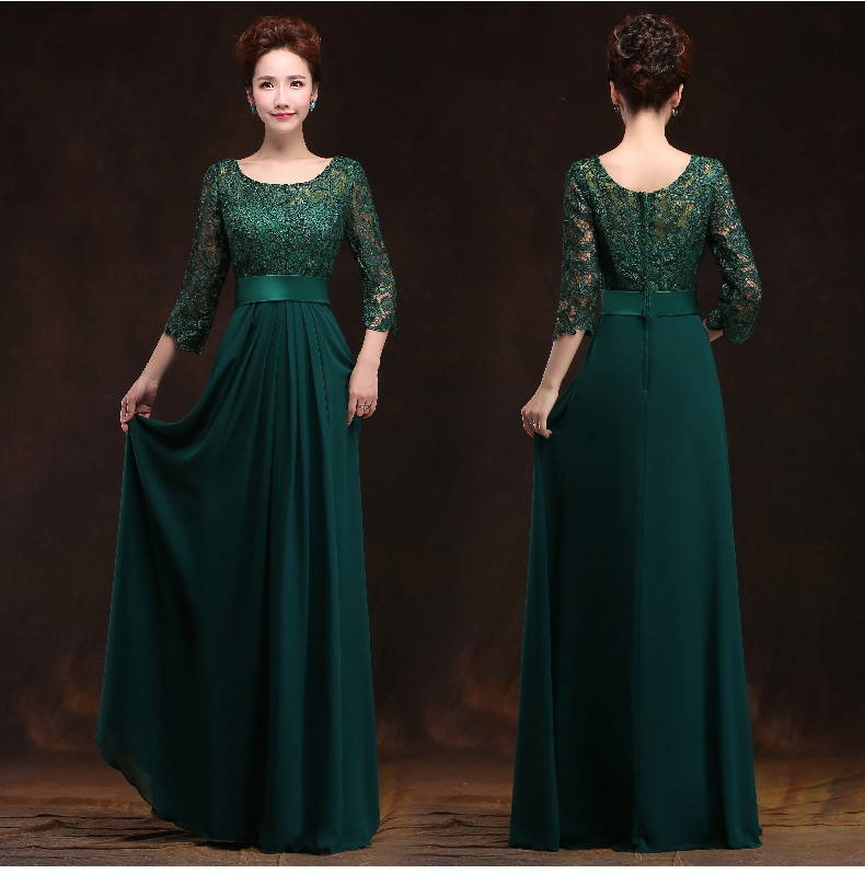 2017 New Arrival O-neck A-line Floor-Length Long Chiffon Plus Size Mother Of The Bride Dresses With Lace Sleeves For Wedding