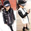 Free shipping Winter new girl's black and white and concise draping leather sleeve girl cotton-padded clothes children's coat