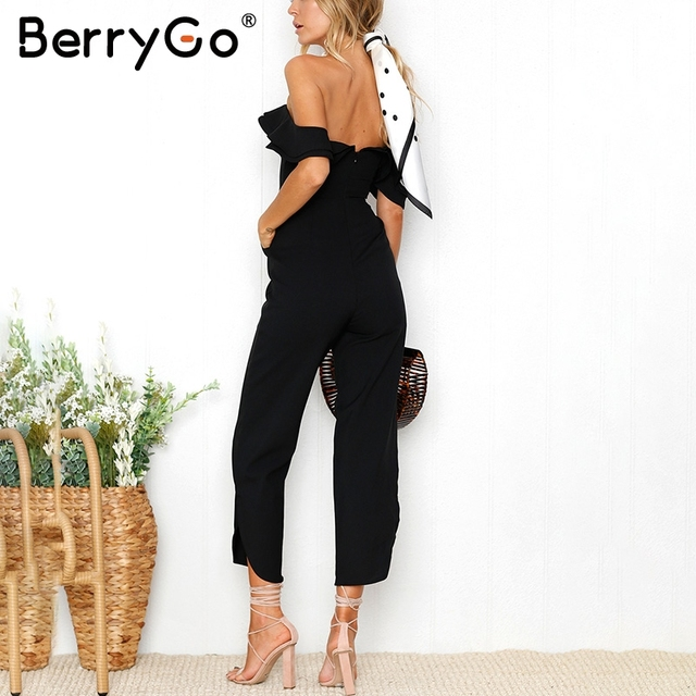 BerryGo Sexy backless off shoulder black jumpsuit women Tiered ruffle high waist jumpsuit romper Female casual overall femme 1