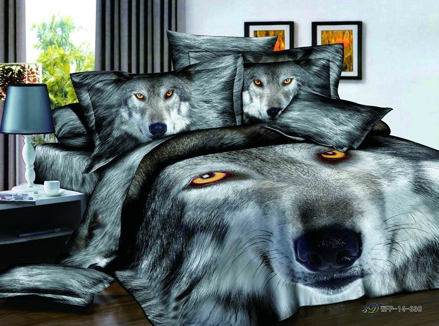 4pcs Luxury Satin Cotton 3d Wolf Bedding Sets Bed Linens