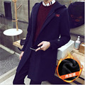 2016 Winter coat thicken mens cotton blends overcoat Black&Navy Windbreaker Man Plus Size 5XL Long Trench Jackets Coat Wholesale
