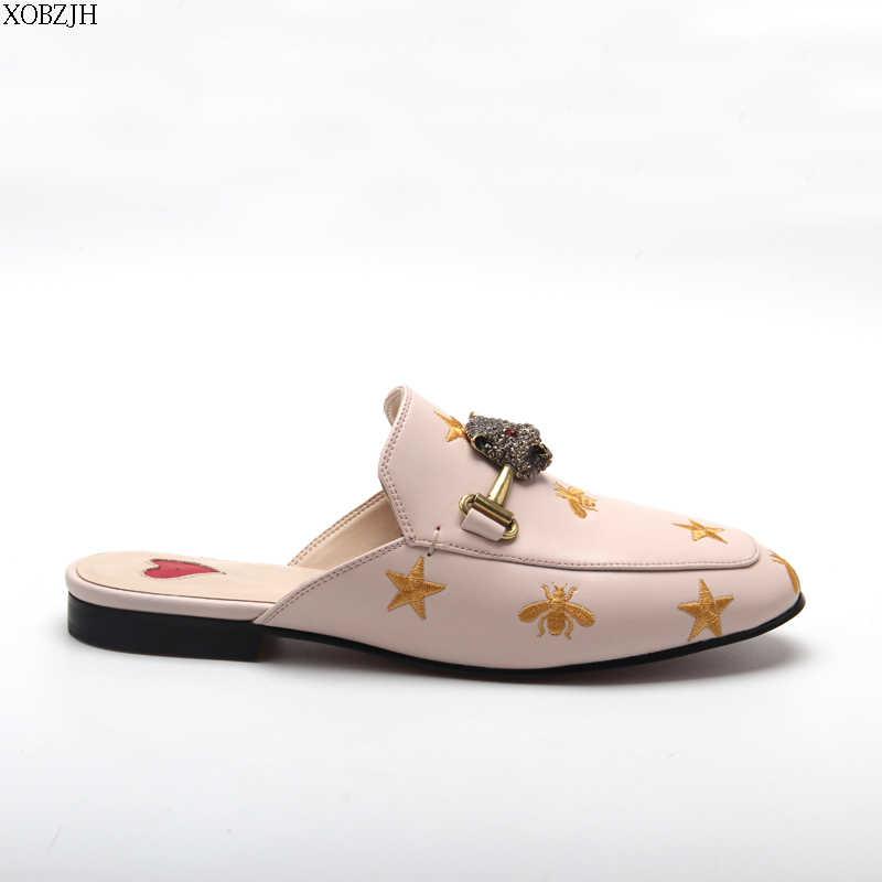 Yaz lüks daireler G katır ayakkabı kadın terlik 2019 açık terlik marka tasarımcısı leopar taklidi ayakkabı kadın büyük boy 43