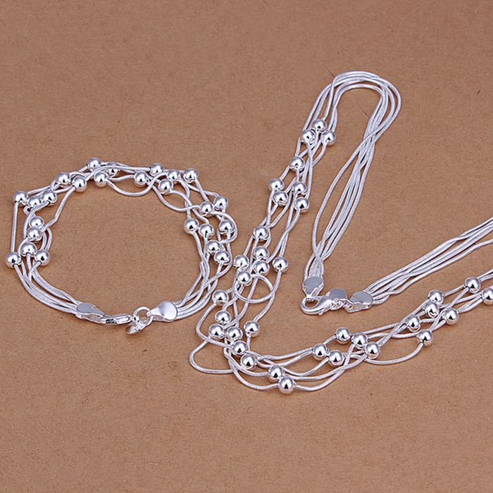925 Jewelry Silver Plated Jewelry Set Nickle Antiallergic Five Lines Of Bean TwoPiece Jewelry Set Vnq Vitn