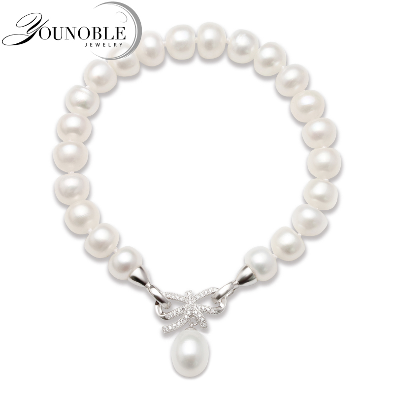 Fashion Cultured Freshwater Pearl Bracelet Natural Pearl Jewelry for Women,925 Silver Jewelry Bracelet Best Gift vintage multilayered faux pearl cross bracelet for women