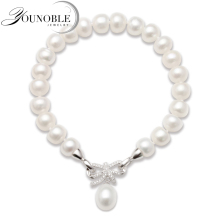 Fashion Cultured Freshwater Pearl Bracelet Natural Jewelry for Women,925 Silver Best Gift