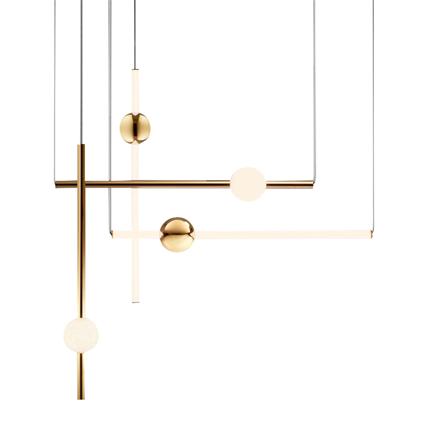 Postmodern LED Chandelier Lighting Loft Gold Pendant Lamp Metal Ball Vertical Lustre Home Decor Luminaire Hanging Lamp Luminaire