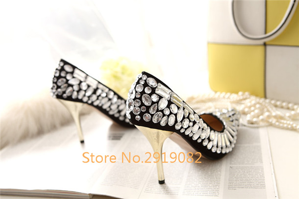 Crystal Pointed Toe Women Pumps Slip-On Sexy Women Shoes Thin High Stilettos Spring Autumn Nightclub Shoes Summer Shoes
