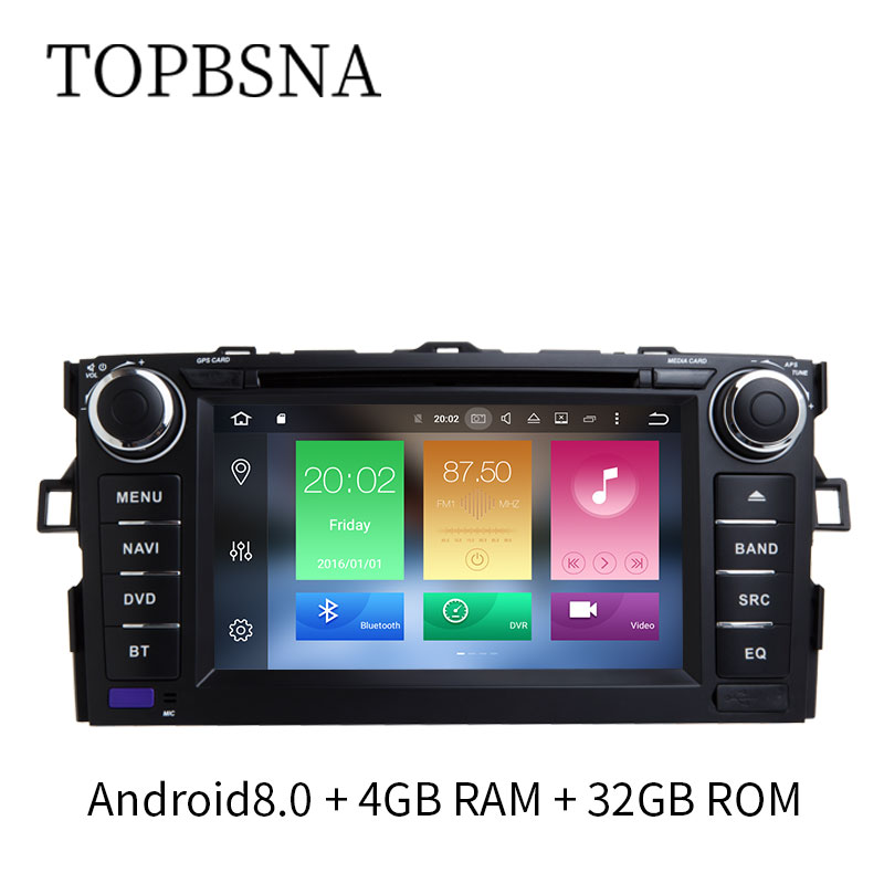 TOPBSNA 4G+32G Octa Core Android 8.0 Car Multimedia DVD Player Auto Audio For TOYOTA COROLL Stereo GPS Navigation bluetooth SWC