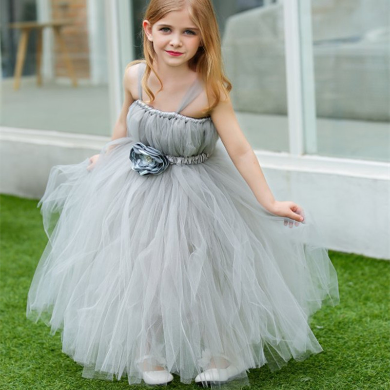 1 14T Gray Flower Girl Princess Dress Party Pageant Wedding Bridesmaid Dresses Costume For Kids Handmade