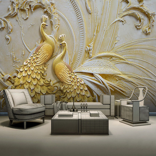 European Style 3d Relief Gold Peacock Mural Wallpaper Living Room Tv