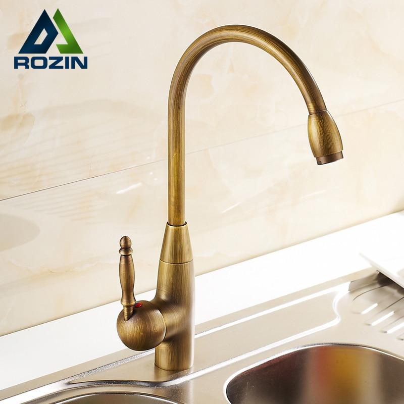 Luxury Antique Brass Long Neck Swivel Spout kitchen Mixer Faucet Rotation Bathroom Kitchen Sink Faucets antique brass swivel spout dual cross handles kitchen