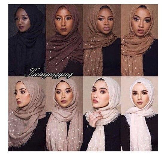Muslim Women's Plain Maxi Indian Hijab Scarf Bubble Cotton Pearl Islamic Headscarf Wrap Soft Pleated Shawls 180x95cm 55colors