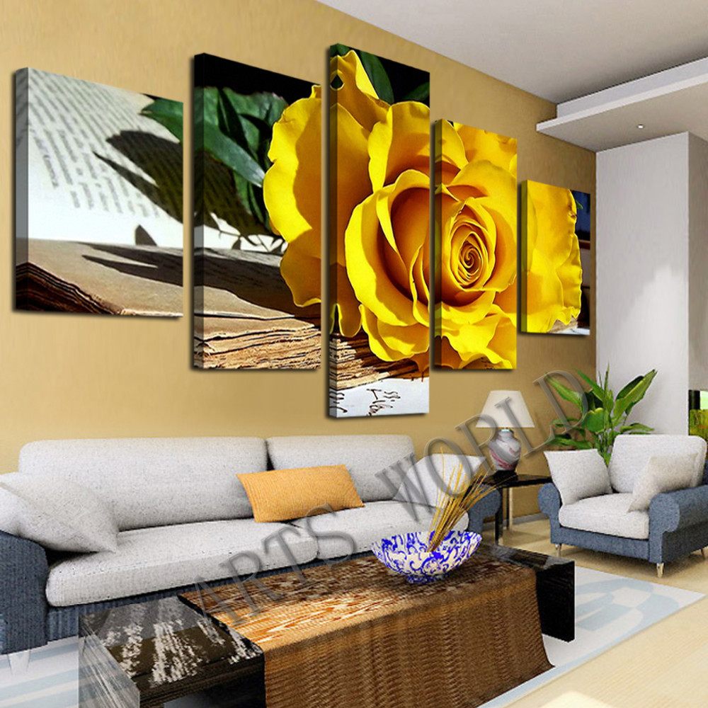 Living Room Oil Paintings Aliexpresscom Buy Beautiful Yellow Roses Oil Painting On Canvas
