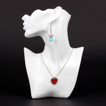 Wholesale High Quality White Resin Necklace Earring Jewellery Set Display Stand Holder Bust