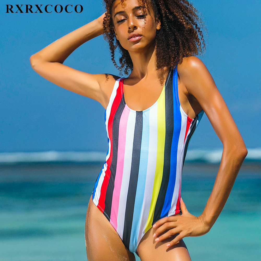 RXRXCOCO Brand 2017 New Arrival One Piece Swimsuit Women Set Sexy Backless Monokini Swimming Suits Top Striped Swimwear Bodysuit one piece swimsuits trikinis high cut thong swimsuit sexy strappy monokini swim suits high quality denim women s sports swimwear