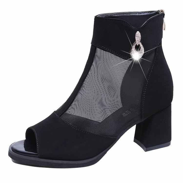 חדש 2019 קיץ נשים סנדלי עקבים גבוהים נשים נעלי אופנה תחרה נוח רוכסן סנדלי נשים