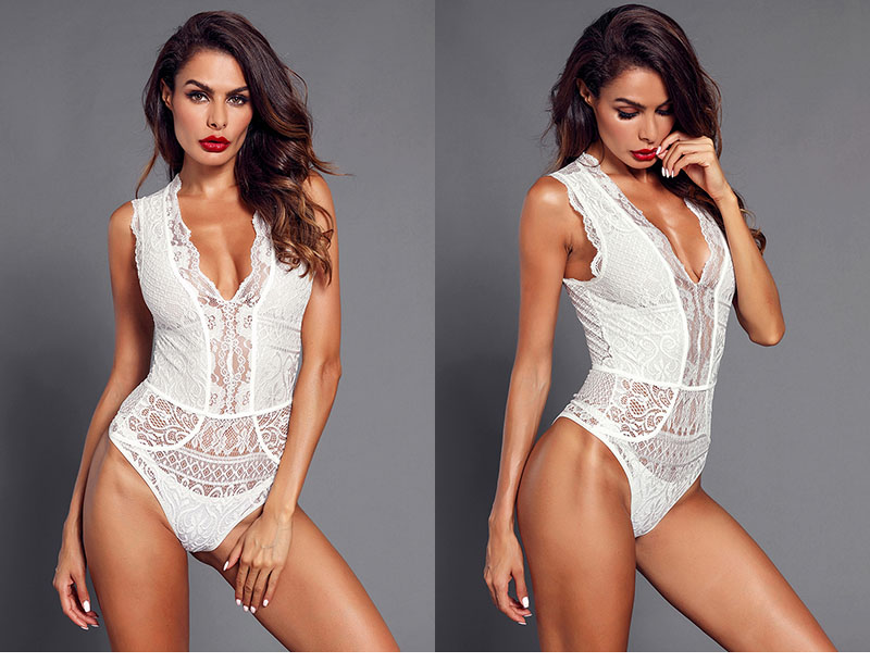 White-V-Neck-Hollow-out-Lace-Bodysuit-LC32247-1-5