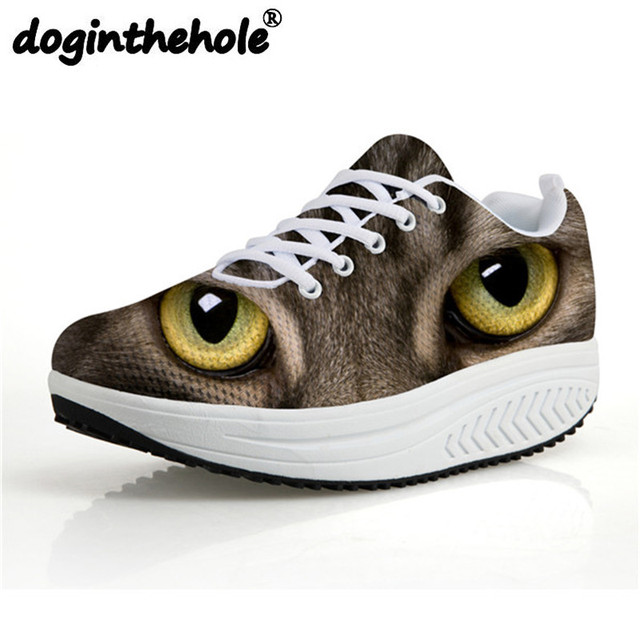 60c4119253f doginthehole Sport Women Swing Shoes Cute Cat Eyes Printing Running Shoes  Outdoor Breathable Air Mesh Platform Sneaker Female-in Running Shoes from  ...