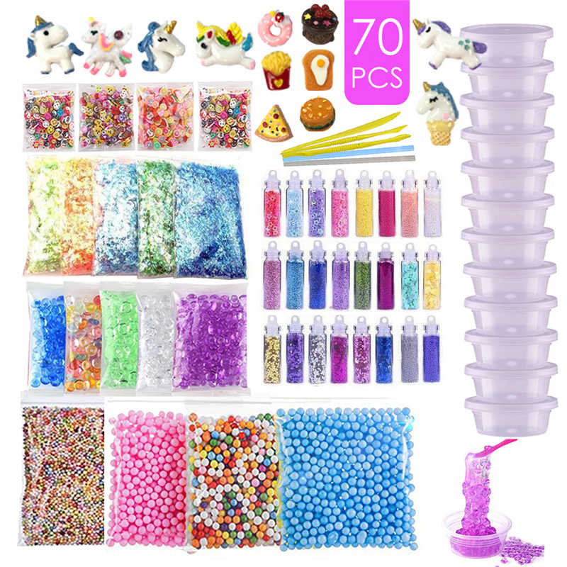 Slime Supplies Set of Adhesive Additives, Unisex Adhesive Sets including Unicorn Adhesives, Glitter Cans, Foam Balls, Fruit Slic