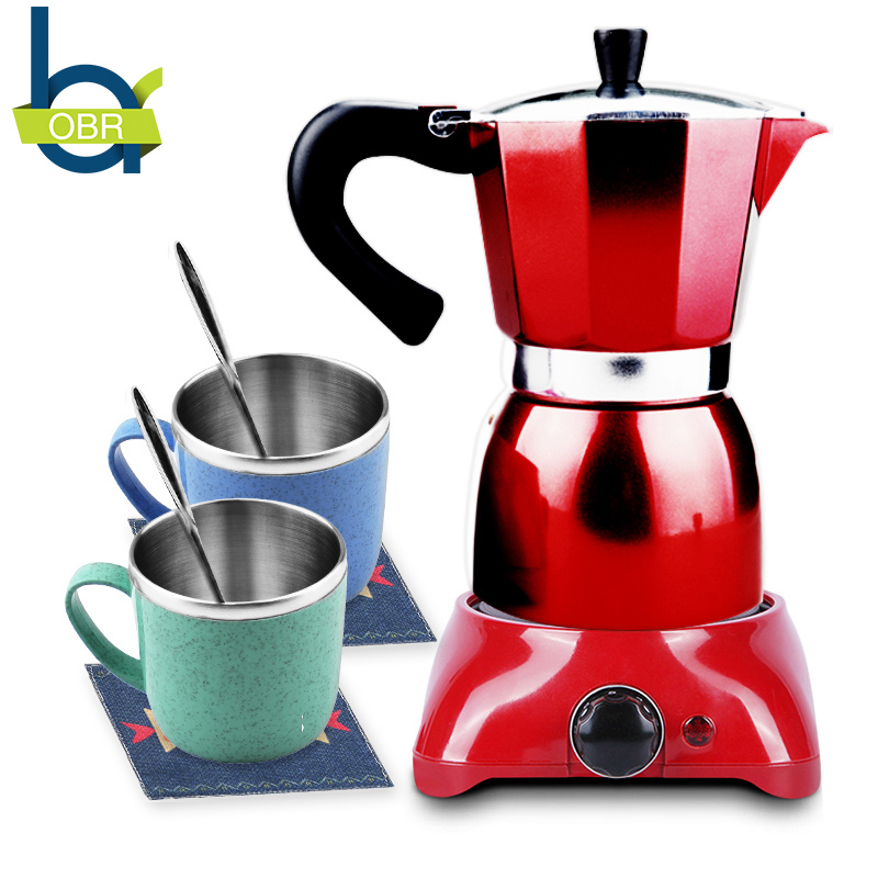 OBR 8PCS Coffee Tea Cup Set Stirring Spoon & Mat & Coffee Pot & Coffee Pot Stove Portable Drinkware Set For Drinking Coffee
