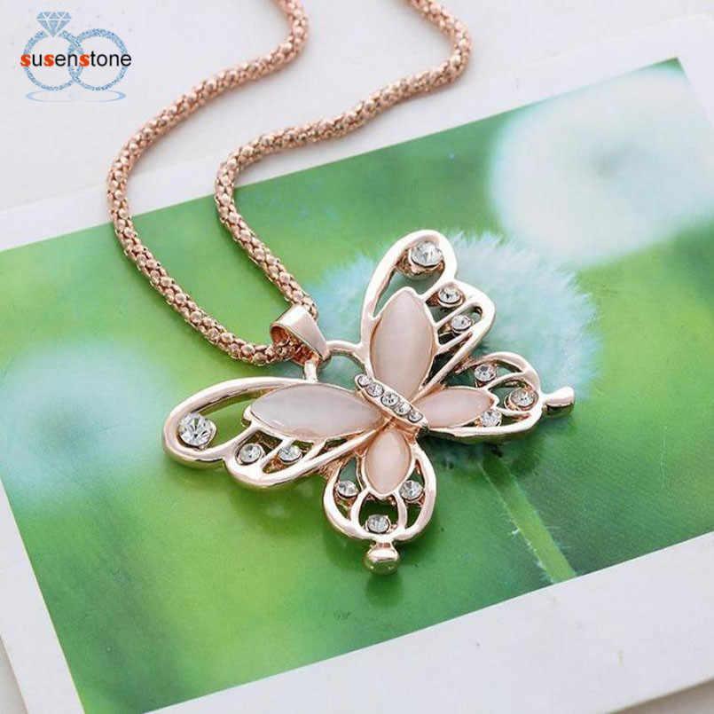 SUSENSTONE แฟชั่นสตรี Lady Rose Gold Opal Butterfly จี้สร้อยคอสร้อยคอสร้อยคอ #7-8