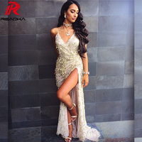 Reaqka Gold Sequin Sundress 2018 New Clothing Women Sexy Backless Split Luxury Sequined Tassel Party Club Wear Maxi HL Dress