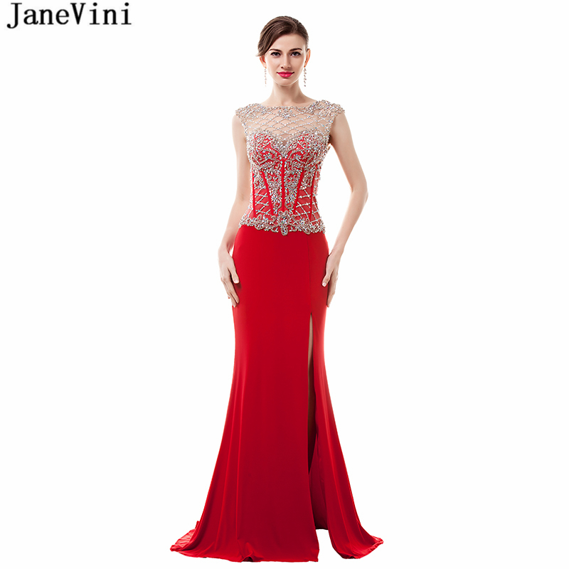 JaneVini Sexy Mermaid Red Long   Bridesmaid     Dresses   2018 Luxurious Beading High Split Backless Satin Formal Prom Gowns Sweep Train