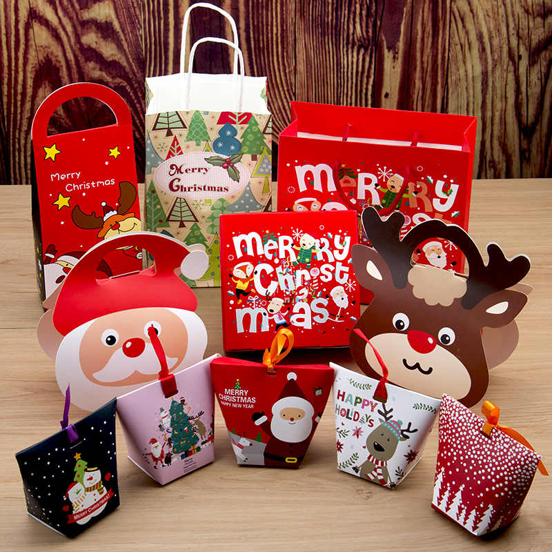 OUSSIRRO 2018 New 10pcs Christmas Gift Box  Xmas Bags Cake Candy Party Box High Quality Christmas Gift Bags