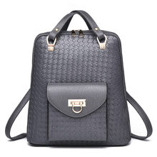 Минималистский ткачество вен искусственная кожа Для женщин рюкзак леди покупки рюкзака Повседневное дорожная сумка