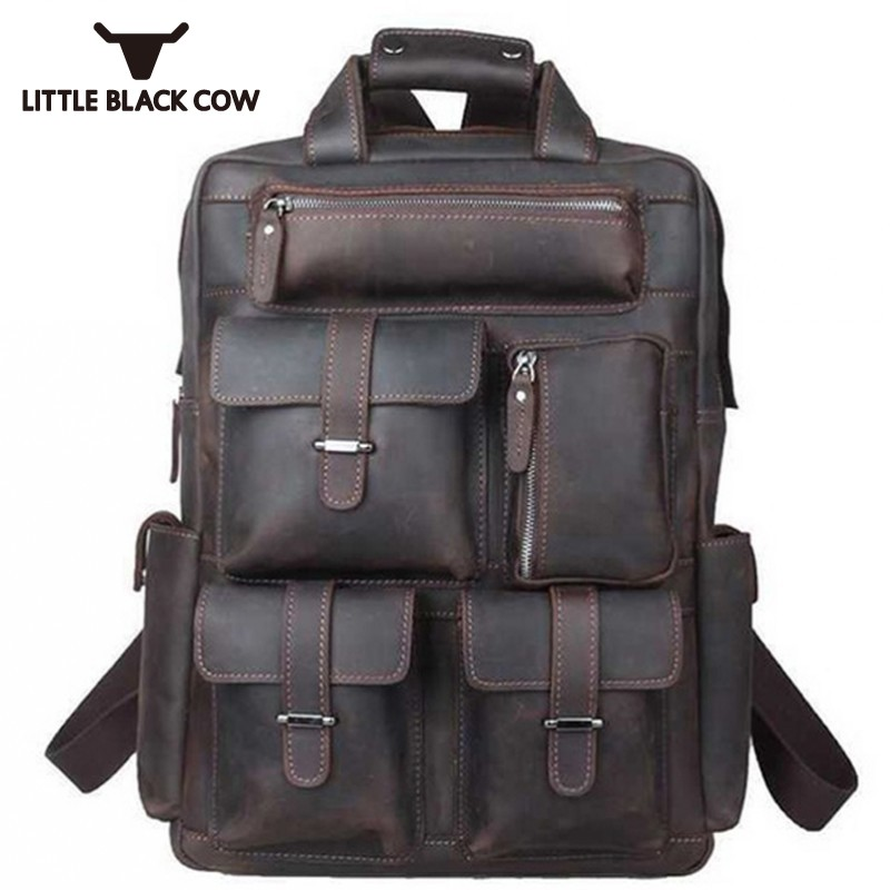 High Quality Handmade Crazy Horse Leather Men Backpack Travel Business Real Leather Backpacks Male School Backpack Book Bag ManHigh Quality Handmade Crazy Horse Leather Men Backpack Travel Business Real Leather Backpacks Male School Backpack Book Bag Man