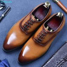 цены QYFCIOUFU Lace-up Men Leather Shoes Business Dress Suit Shoes Men Brand Bullock Genuine Leather Black Lace Up Wedding Mens Shoes
