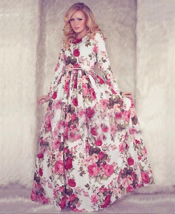 70edae00ba9 Long Maxi Dress Women s Fashion Floral Print Long Sleeve Floor Length Party  Ball Gown Long Dress 35-in Dresses from Women s Clothing on Aliexpress.com  ...