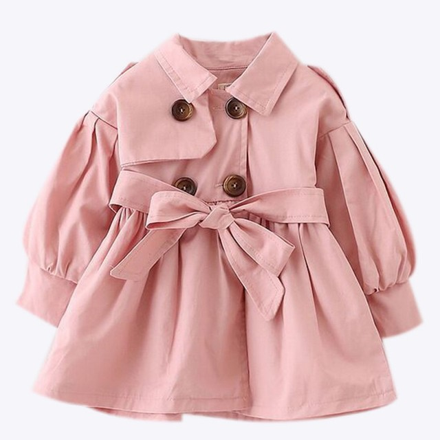 30d4af0c15cee spring baby girls Jackets & Coats British style Outerwear Bowknot jacket  girls clothes a hat removable