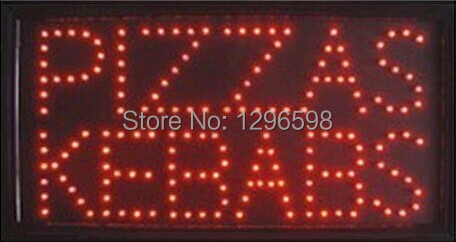 2017 hot sale customed 10x19 inch semi-outdoor Pizzas Kebabs store Ultra Bright led sign