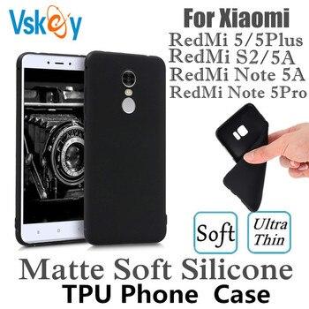 VSKEY 10PCS Matte TPU Phone Case For Xiaomi Redmi Note 5A Ultra Thin Soft Redmi 5 Plus S2 Black Silicone Back Cover