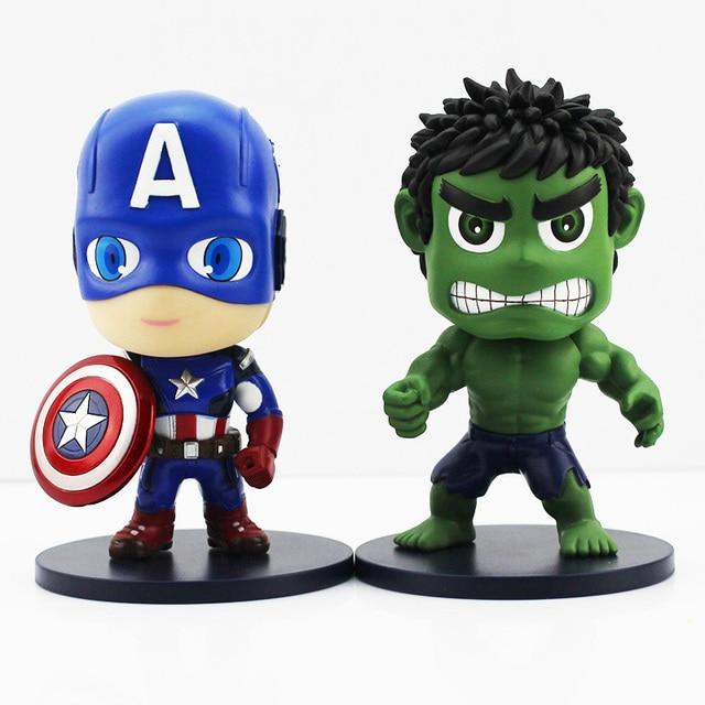 Pengiriman Gratis Kedatangan Baru   Cm Versi Lucu Hijau Hulk Kapten Amerika Pvc Tokoh