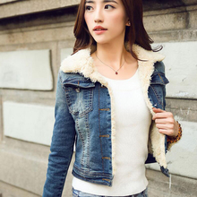 2016 Winter Woman Thicken Denim Jackets Lambswool Thermal Denim Water Wash Denim Clothes