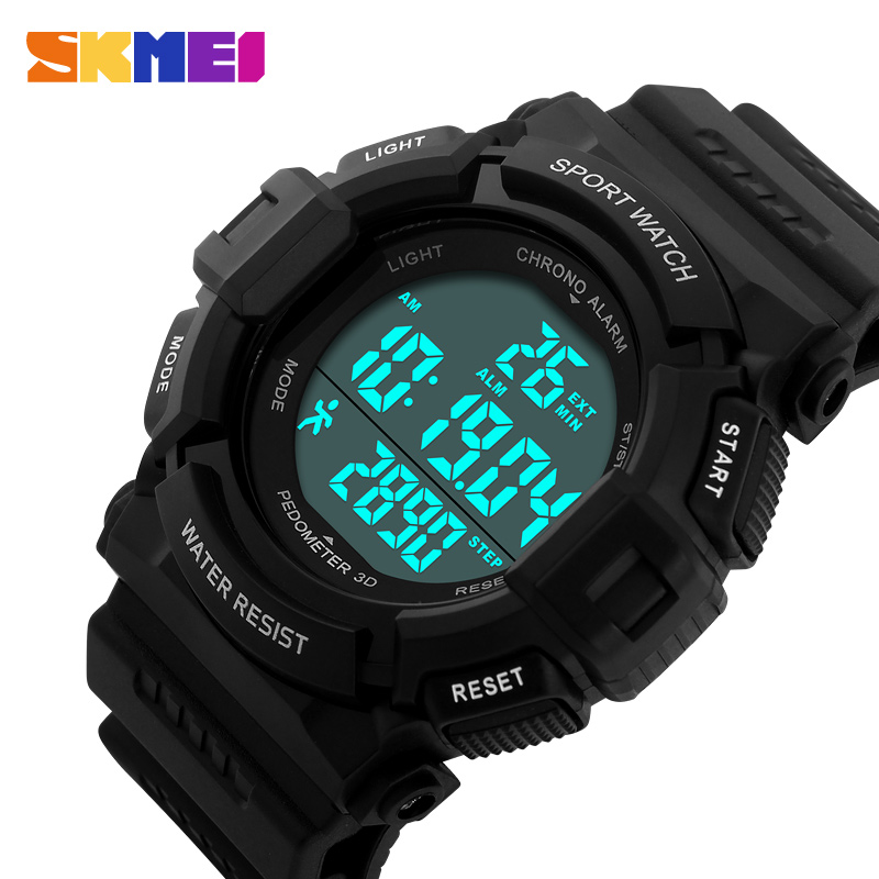 лучшая цена LED Digital Watch Pedometer Sports Watches 50M Water Resistant Military Army Shock Relogio Masculino SKMEI Men Wristwatches