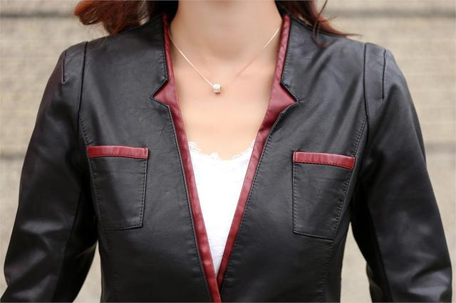 Leather Jackets For Women Suede Blazer Biker Ladies Patchork Synthetic Lether V-neck Brand  Factory Direct Faux Leather Jacket