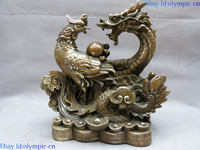 11 China brass copper carved feng shui lucky dragon phoenix sculpture Statue