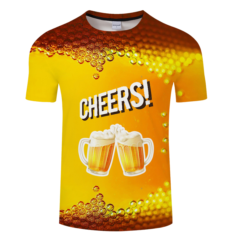 Cool summer beer printed T-shirt novelty short sleeve T-shirt top men's neutral top quality casual suspender T-shirt Asian size