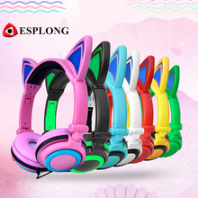 Cute CAT EAR Hifi Headset for GIRLS 3.5mm Stereo Foldable Headphone with LED Light Super Bass Earphone for PC Laptop Smartphone