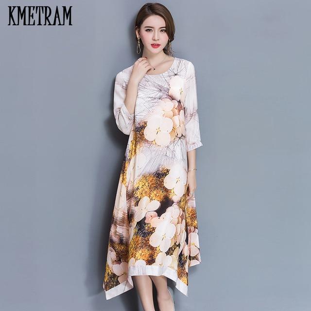 New Summer Chiffon Silk Dress Women Elegant Retro Print White Dresses  Ladies Female Vintage Slim Sundress c49d5ef8e858